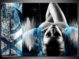 Glas Schilderij Vrouw, Kunst | Zwart, Wit, Blauw
