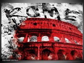 Glas Schilderij Italie, Rome | Rood, Zwart, Wit