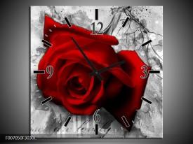 Wandklok Schilderij Roos, Bloem | Rood, Zwart, Wit