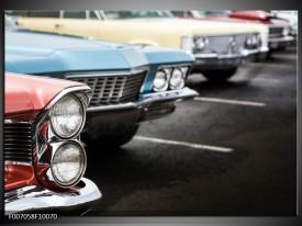 Canvas Schilderij Oldtimer, Auto | Zwart, Blauw, Rood