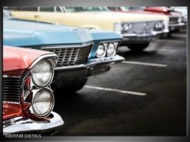 Glas Schilderij Oldtimer, Auto | Zwart, Blauw, Rood