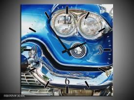 Wandklok Schilderij Oldtimer, Auto | Blauw, Grijs, Zilver