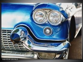 Glas Schilderij Oldtimer, Auto | Blauw, Grijs, Zilver