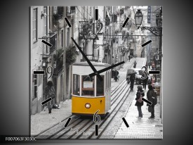 Wandklok Schilderij Steden | Zwart, Wit, Geel