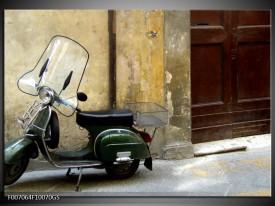 Glas Schilderij Motor, Scooter | Bruin, Geel, Groen