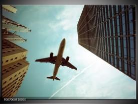 Canvas Schilderij Steden, Vliegtuig | Groen, Blauw, Grijs