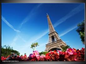 Glas Schilderij Parijs, Eiffeltoren | Blauw, Rood, Groen