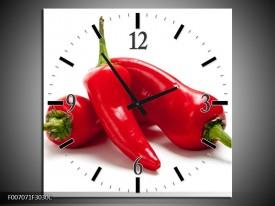 Wandklok Schilderij Paprika, Keuken | Wit, Rood