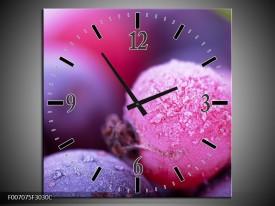 Wandklok Schilderij Fruit, Keuken | Paars, Roze