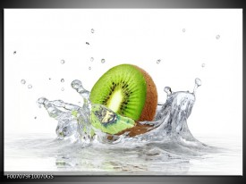 Glas Schilderij Kiwi, Keuken | Wit, Groen, Bruin