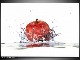 Glas Schilderij Appel, Keuken | Rood, Wit,