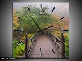 Wandklok Schilderij Natuur, Brug | Groen, Bruin, Grijs