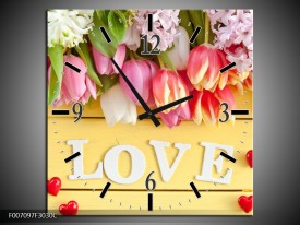 Wandklok Schilderij Tulpen, Bloemen | Geel, Roze, Wit