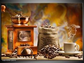 Canvas Schilderij Koffie, Keuken | Bruin, Geel, Oranje