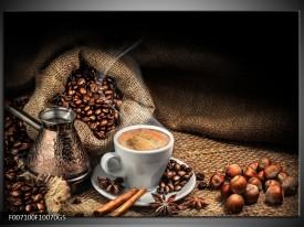 Glas Schilderij Koffie, Keuken | Bruin, Geel, Wit