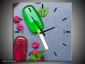 Wandklok Schilderij Ijs, Fruit | Grijs, Rood, Groen