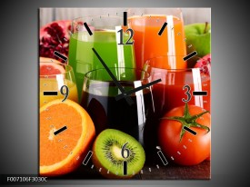 Wandklok Schilderij Groenten, Fruit | Oranje, Geel, Groen