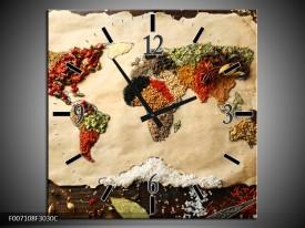 Wandklok Schilderij Kruiden, Wereldkaart | Bruin, Crème