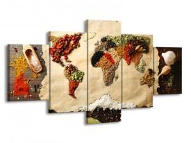 Canvas Schilderij Kruiden, Wereldkaart | Bruin, Crème | 150x80cm 5Luik