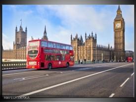 Glas Schilderij Engeland, London   Rood, Blauw, Grijs