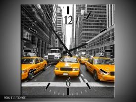 Wandklok Schilderij New York, Auto | Geel, Zwart, Wit