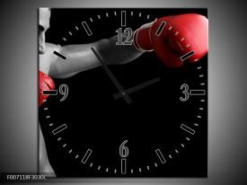 Wandklok Schilderij Man, Sport | Zwart, Grijs, Rood