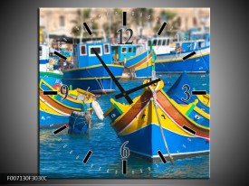 Wandklok Schilderij Boot, Natuur   Blauw, Geel, Oranje