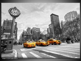 Glas Schilderij New York, Auto | Zwart, Wit, Geel