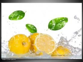 Canvas Schilderij Citroen, Keuken | Wit, Geel, Groen