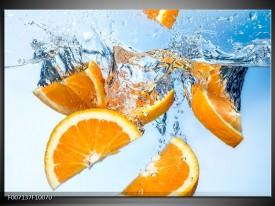 Canvas Schilderij Sinaasappel, Keuken | Geel, Blauw