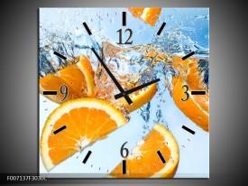 Wandklok Schilderij Sinaasappel, Keuken   Geel, Blauw