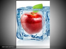 Glas Schilderij Appel, Keuken | Rood, Blauw, Wit
