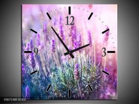 Wandklok Schilderij Lavendel, Landelijk | Paars, Crème, Roze