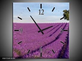 Wandklok Schilderij Lavendel, Landelijk   Paars, Blauw, Groen