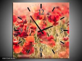 Wandklok Schilderij Klaproos, Bloemen | Rood, Bruin
