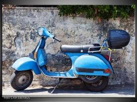 Glas Schilderij Scooter, Motor | Grijs, Blauw