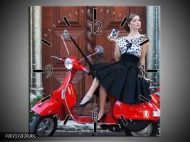 Wandklok Schilderij Scooter, Motor | Rood, Zwart, Bruin