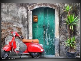 Canvas Schilderij Scooter, Motor | Groen, Rood, Grijs