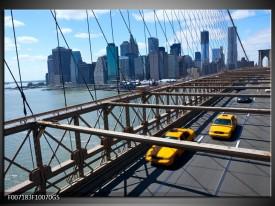 Glas Schilderij Brug, New York   Grijs, Blauw, Geel