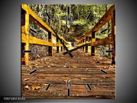 Wandklok Schilderij Brug, Natuur | Bruin, Geel, Groen
