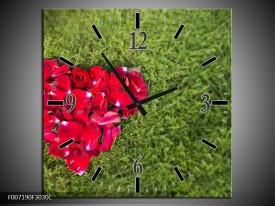 Wandklok Schilderij Bloem, Gras   Rood, Groen, Roze