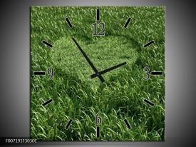 Wandklok Schilderij Gras, Hart   Groen