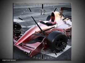 Wandklok Schilderij Auto, Formule 1   Grijs, Roze, Rood