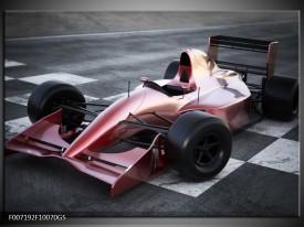 Glas Schilderij Auto, Formule | Grijs, Roze, Rood