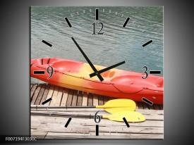 Wandklok Schilderij Boot, Water | Geel, Oranje, Grijs