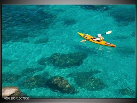 Glas Schilderij Kayak, Sport   Turquoise, Geel, Groen