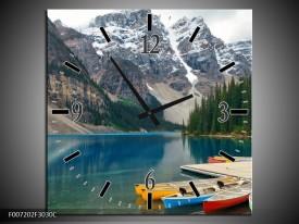 Wandklok Schilderij Boot, Natuur   Grijs, Blauw, Groen