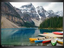 Glas Schilderij Boot, Natuur | Grijs, Blauw, Groen