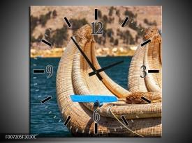 Wandklok Schilderij Boot, Natuur   Geel, Bruin, Blauw