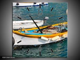 Wandklok Schilderij Boot, Water | Grijs, Geel, Wit